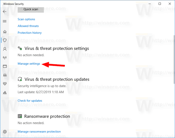 Windows 10 Windows Security Virus And Threat Protection Manage Settings