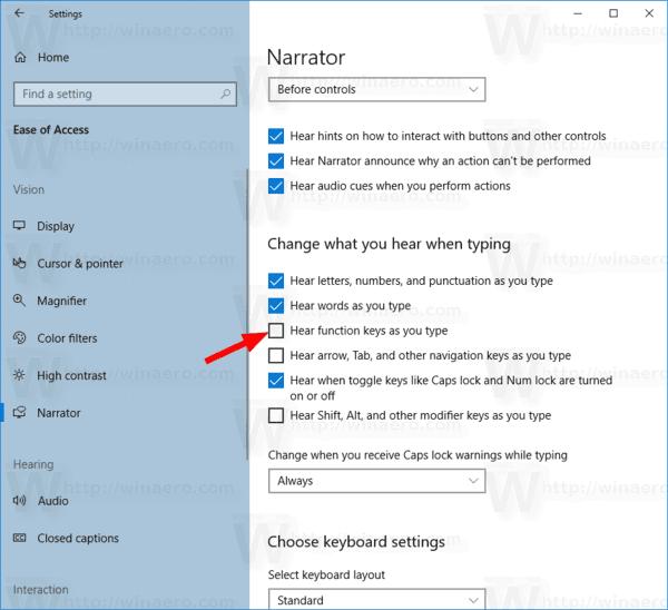 Announce Function Keys Narrator In Windows 10