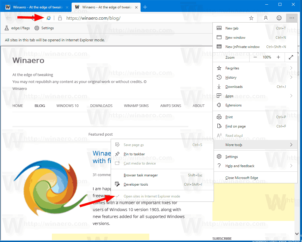 Enabled IE Mode Edge Dev