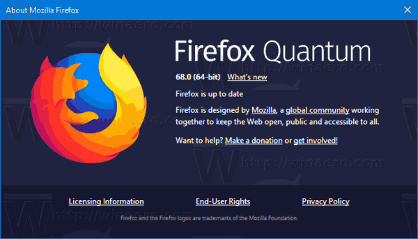 Firefox 68 About