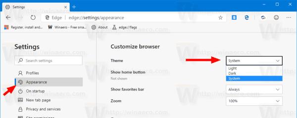 Microsoft Edge Change Theme
