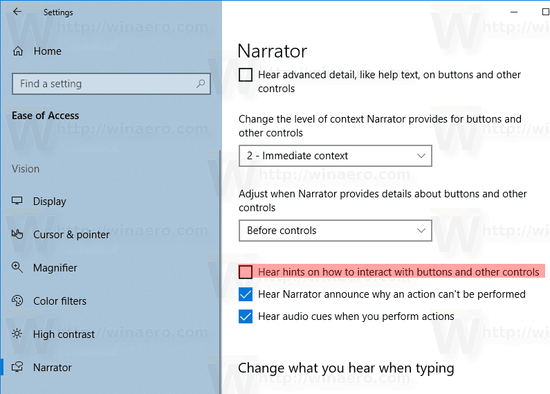 Narrator Turn Off Interaction Hints Windows 10