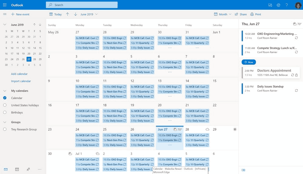 Outlook Email Calendar 1