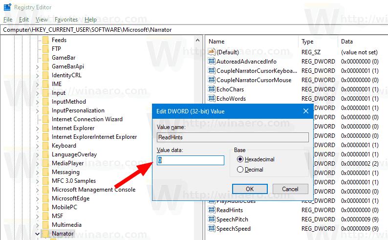 Registry Narrator Turn Off Interaction Hints Windows 10
