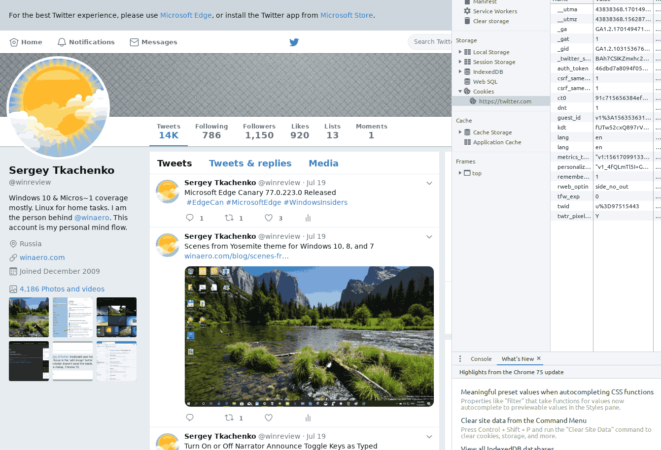 Twitter Old Design IE 11