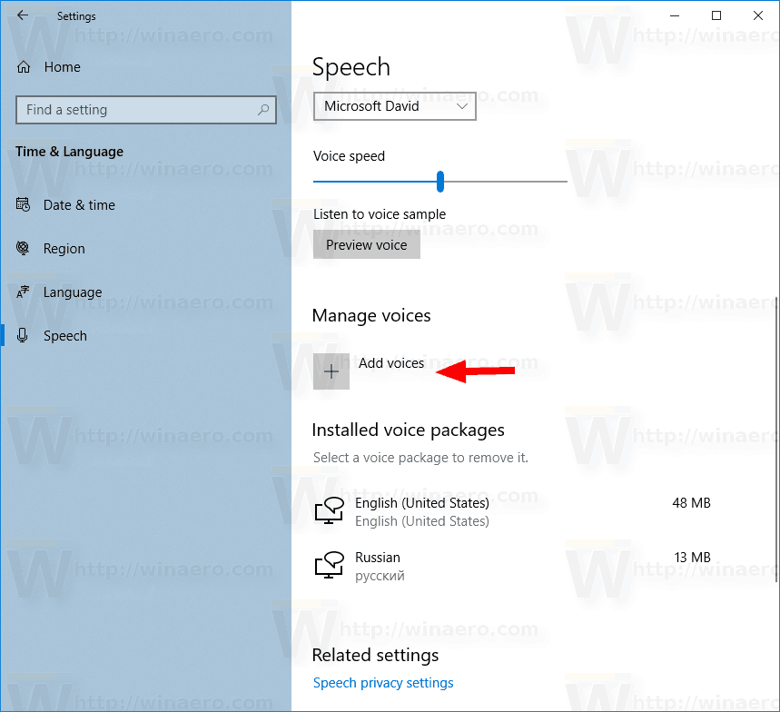 Add and Remove Speech Voice in Windows 10