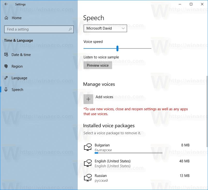 Windows 10 Add Speech Voice 3