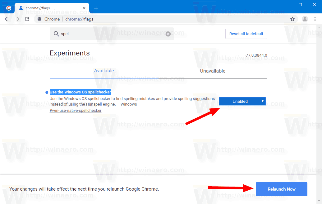 Windows 10 Canary Chrome SpellChecker Flag