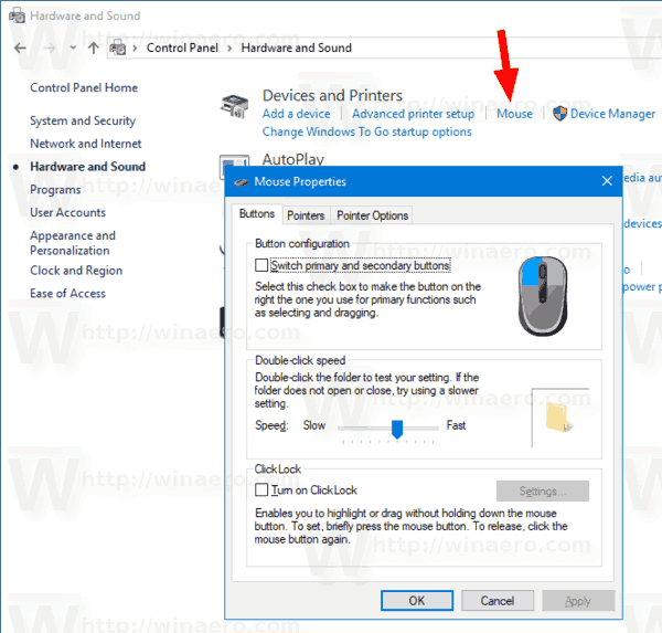Windows 10 Control Panel Mouse