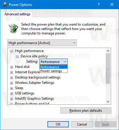 Windows 10 Device Idle Policy In Power Options