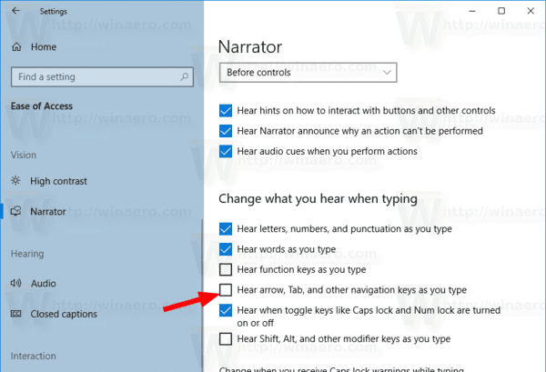 Windows 10 Narrator Announce Navigation Keys