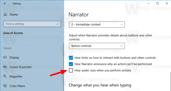 Windows 10 Narrator Disable Audio Cues