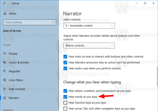 Windows 10 Narrator Hear Words As You Type