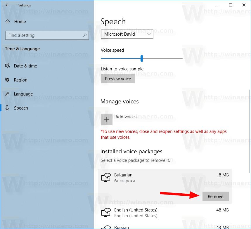 Windows 10 Remove Speech Voice 1