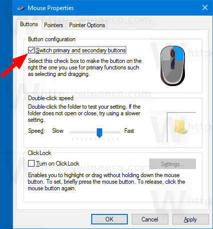 Windows 10 Swap Mouse Buttons
