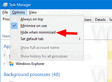 Windows 10 Task Manager Minimize To Tray