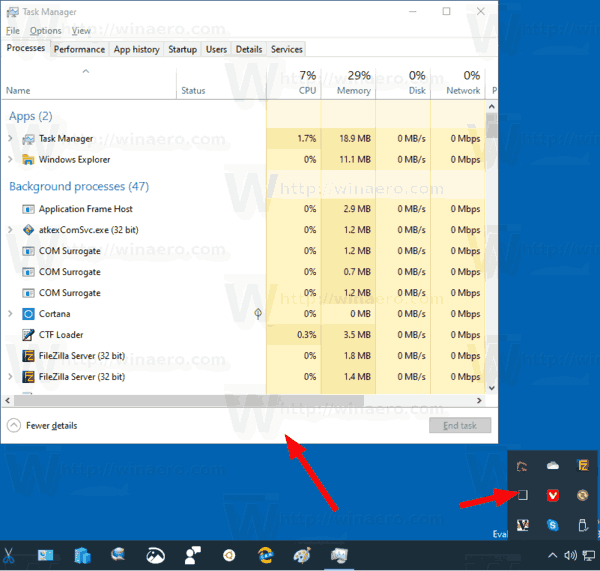 Windows 10 Task Manager Restored From Tray