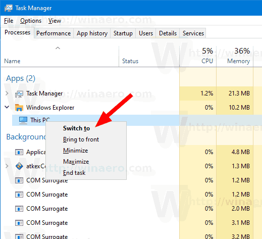 Windows 10 Task Manager Switch To Command