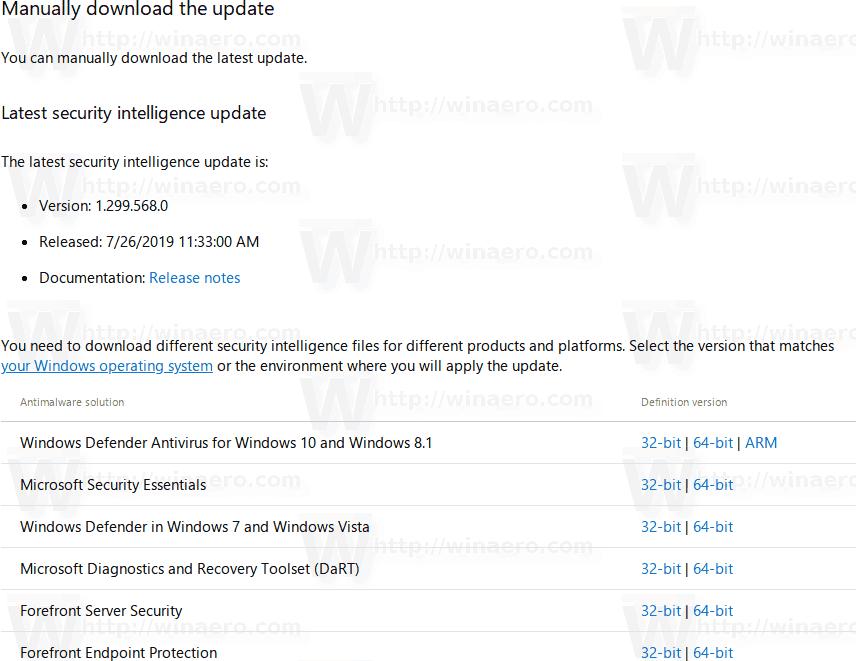 Windows 10 Update Defender Definitions