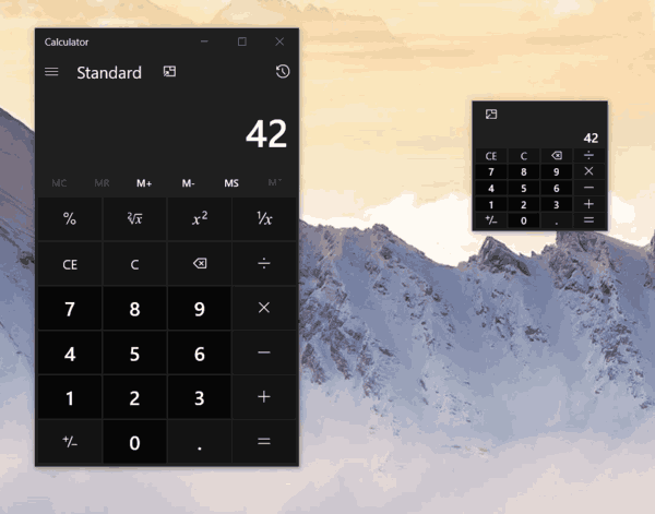 Windows 10 New Calc Size