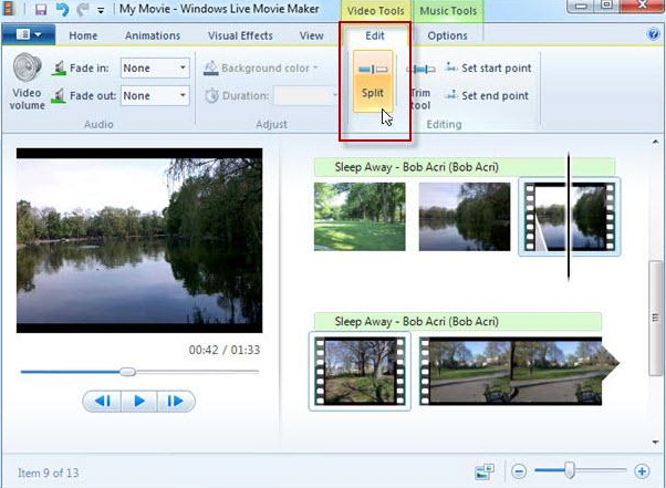 Windows Movie Maker Split Video