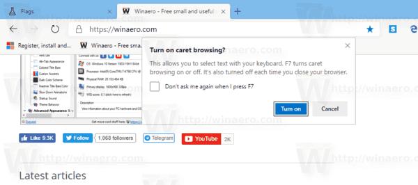 Chromium Edge Activate Caret Browsing