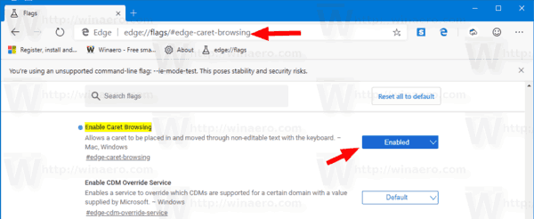Chromium Edge Enable Caret Browsing