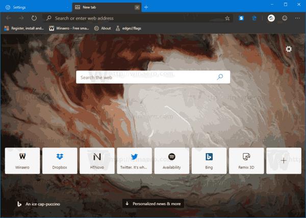 Dark New Tab Page In Microsoft Chromium