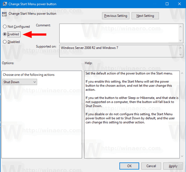 Enable Change Start Menu Power Button Action Policy