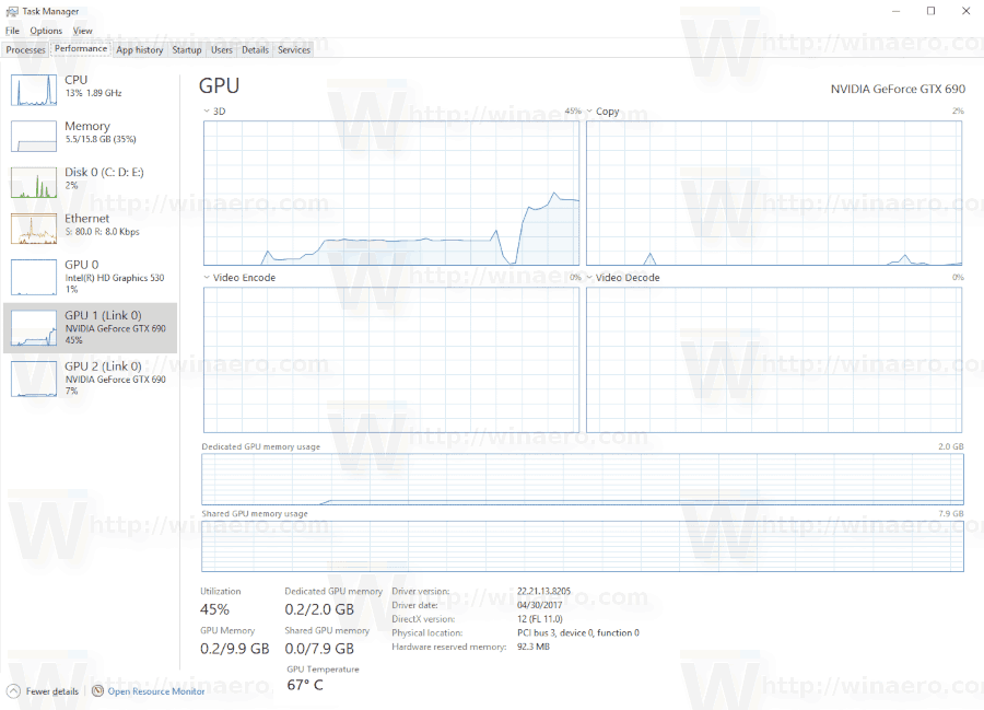 GPU Temperature In Task Manager In Windows 10