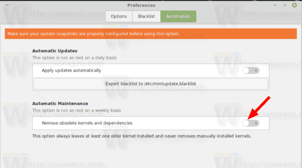 Linux Mint Enable Autoremove Old Kernels