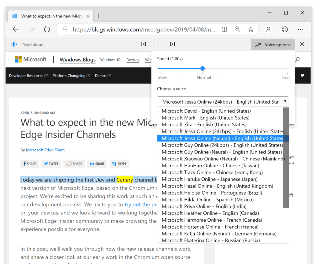Microsoft Edge Cloud Powered Voices
