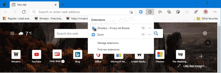Microsoft Edge Extension Hub Menu