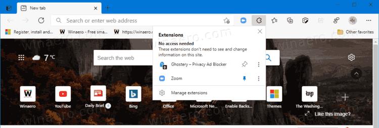 Microsoft Edge Extension Toolbar Button
