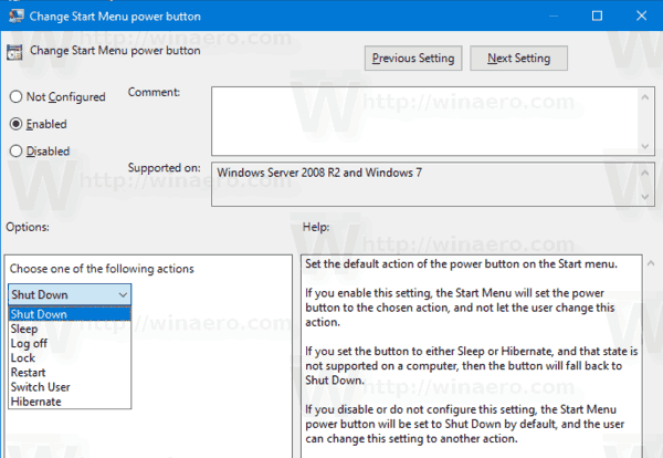 Set Default Shutdown Action Group Policy