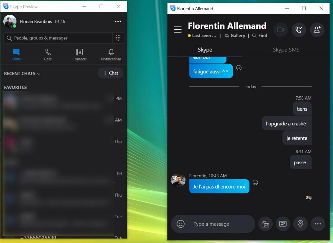 Skype Split View 2