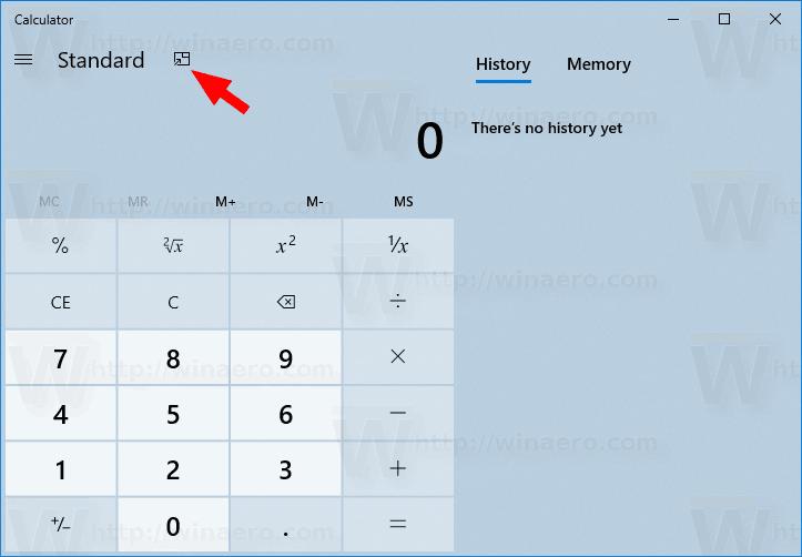 Windows 10 Calculator Enable Always On Top Mode