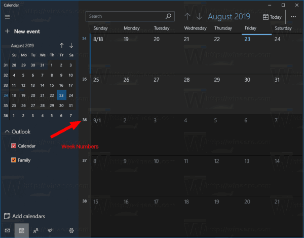 Windows 10 Calendar Enable Week Numbers