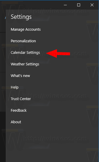 Windows 10 Calendar Settings Item
