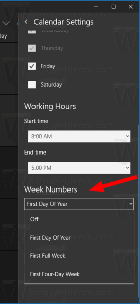Windows 10 Calendar Settings Week Numbers