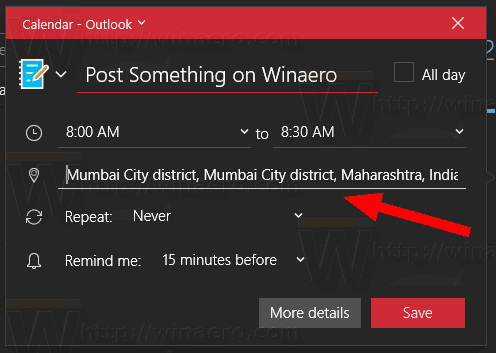 Windows 10 Calendar App Event Location