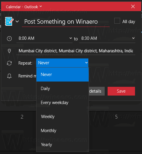 Windows 10 Calendar App Event Repeat