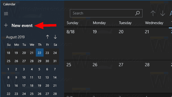 Windows 10 Calendar App New Event Button