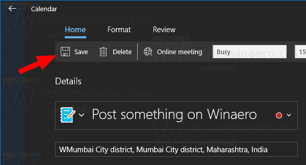 Windows 10 Calendar App New Event Dialog 10