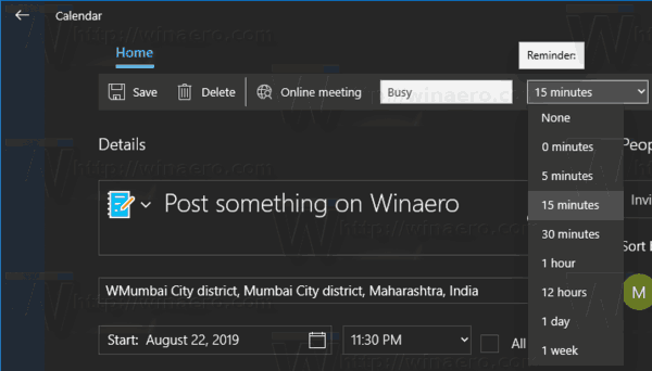 Windows 10 Calendar App New Event Dialog 6