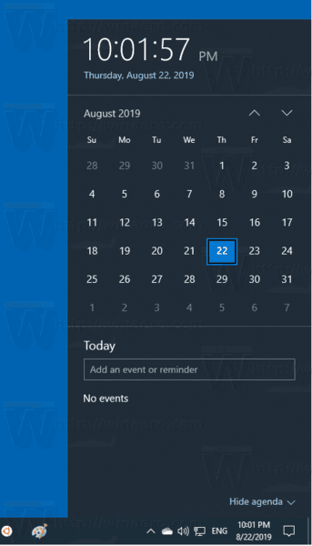 Windows 10 Calendar Flyout