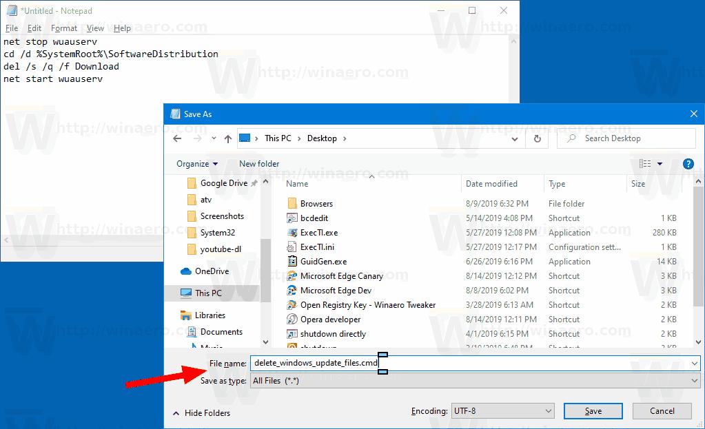 Windows 10 Delete Windows Update Files Batch File 1