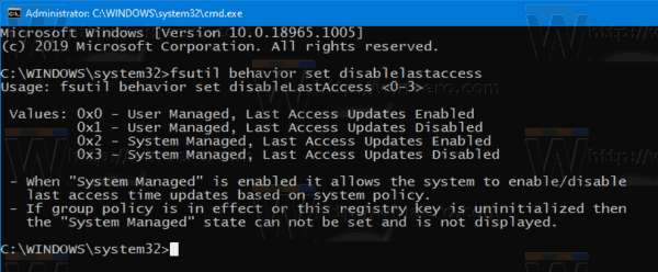 Windows 10 Disable NTFS Last Access Time Stamp Fsutil