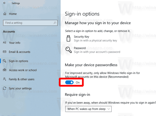 Windows 10 Enable Passwordless Sign In