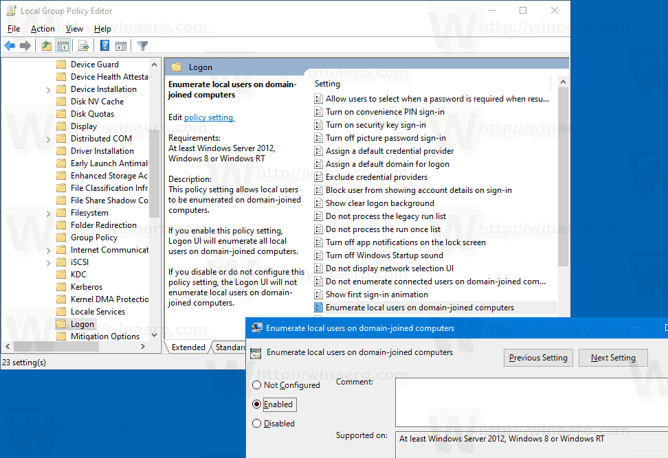 Show Local Users on Sign-in Screen on Domain Joined Windows 10